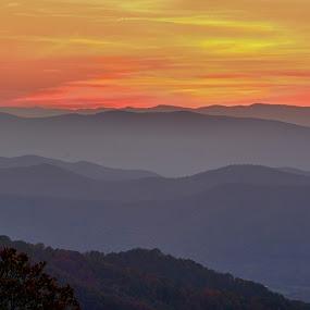 Shenandoahs at Dusk by Jim Schlett - Landscapes Mountains & Hills ( nps, sunset, twilight, dusk, sun, shenandoah, shenandoah national park )