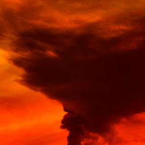 Smoking in red by Cristobal Garciaferro Rubio - Landscapes Sunsets & Sunrises ( volcano, red, sunset, smoking volcano, smoke )