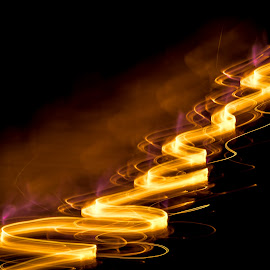 Up and away by Jeff Fahrenbruch - Abstract Fire & Fireworks ( abstract, orange, light trail, yellow, fire )