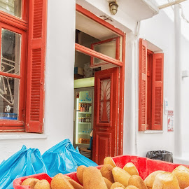 Fresh Buns by Dan Herman - City,  Street & Park  Markets & Shops ( red, mykonos, bred, greece )
