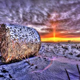 Hay  by DE Grabenstein - Landscapes Prairies, Meadows & Fields ( farm, sunset, snow, winter sunset, nebraska, rural sunset, rural )