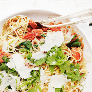 Blistered Tomatoes, Arugula and Mascarpone Pasta