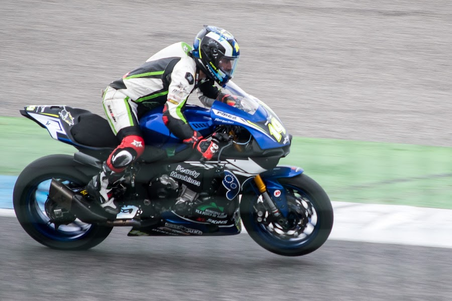 SBK by José Borges - Sports & Fitness Motorsports ( motorcycle, racing, blue, helmet, track, rider, bike )