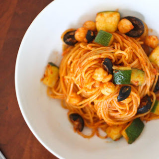 Vermicelli with Harissa, Zucchini, and Olives