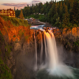 Snoqualmie Dusk by Judi Kubes - Landscapes Waterscapes ( clouds, water, washington, sunset, cliff, waterfall, snoqualmie falls, rocks, dusk,  )