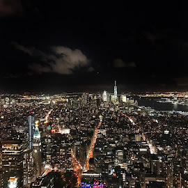View from the Empire State Building by Trey Amick - Instagram & Mobile iPhone ( big apple, empire, empire state building, night, new york city, nyc, landscape, nightscape )
