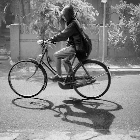 Morning Ride by Steven Silman - City,  Street & Park  Street Scenes