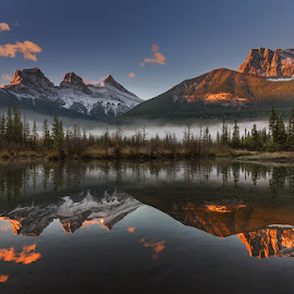 3 Sisters by Pritam De - Landscapes Mountains & Hills ( canada, d750, 3 sisters, canmore, 24-120, sunrise, nikon )