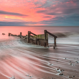 Backwash by Phil Green - Landscapes Waterscapes ( hornsea, seascape, sunrise, east yorkshire, wave,  )