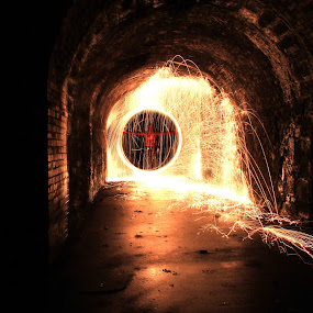 Devils Tunnel  by Graeme Garton - Abstract Light Painting ( light painting, light ring, sparks, evil, worship, religious, fire, tunnel )