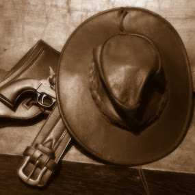 cowboy by Alan Reardon - Artistic Objects Other Objects ( menstrie, cowboy, colt, holster, leather, gun, hat )