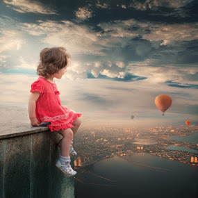 The observer II by Caras Ionut - Digital Art People ( ioana, paper, land, children, writing, rock, landscape, birds, sun, city, psd, mounting, poem, light, top, clouds, hill, tutorials, building, letter, beautiful, cliff, observer, manipulation, dove, roof, fly )