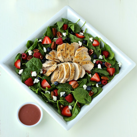 Summer Spinach Salad with Grilled Chicken and Creamy Berry Balsamic Dressing