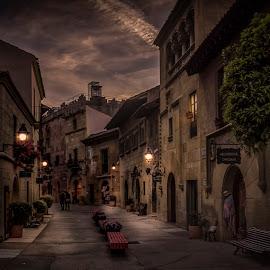 Poble Espanyol by Ole Steffensen - City,  Street & Park  Street Scenes ( street, poble espanyol, museum, barcelona, spain )