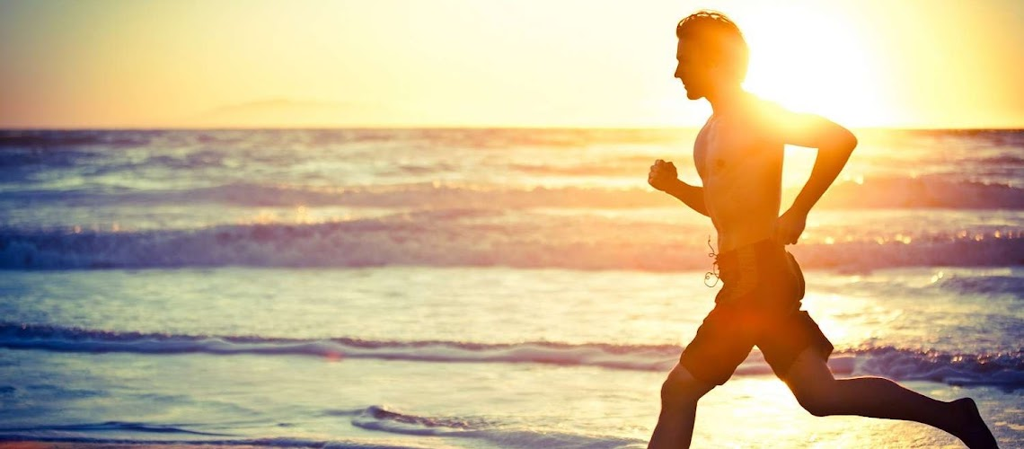 Running exercise on beach