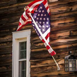 Our USA flag by Esther Lane - Buildings & Architecture Homes ( flag, window, wood siding, us, light, usa )