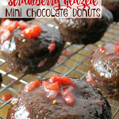 Strawberry Glazed Mini Chocolate Donuts