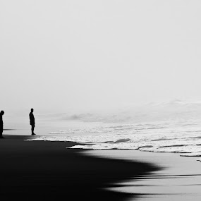 Chandrabhaga Beach by Minhajul Haque - Black & White Landscapes ( detail, bright, exterior, location, silhouette, lone, beach, attraction, existence, open-air, nature, dark, place, awe, moving, atmosphere, quiet, metalic, category, environment, miscellaneous, qualities, scene, lines, view, tranquility, natural, outside, decent, monochrome, black and white, land, line, landscape, imagination, photography, fantasy, area, asia, india, activity, man, water, greyscale, male, beautiful, line & shape, human, vista, outdoor, artistic, continent, clarity, out-of-door, scenery, landscapes )