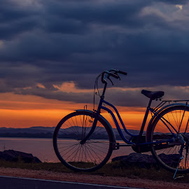 Along  by Sam arts Photography - Transportation Bicycles ( sky, sunset, evening, sam, bicycle )