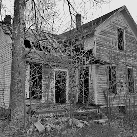 Small Abandoned House by Amber Thomas - Buildings & Architecture Decaying & Abandoned ( old, black and white, house, decaying, small, abandoned )