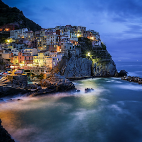 Manarola by Blaz Crepinsek - City,  Street & Park  Vistas ( lights, cinque terre, manarola, evening, italy,  )
