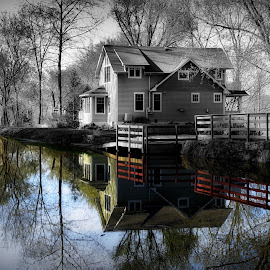 Duality by Kenneth Cox - Buildings & Architecture Homes ( reflection, selective color, black and white, springtime,  )