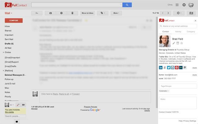 FullContact for Gmail™ Screenshot