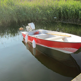 Red Boat by Viive Selg - Transportation Boats