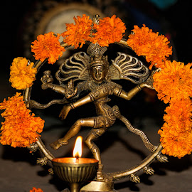 Indian Deity by Peter Brown - Artistic Objects Other Objects ( religion, hindu, candle, deity, artistic, india, ceremony, flowers, religious )