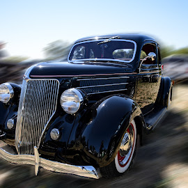 Vintage Automobile by Jeanine Akers - Transportation Automobiles ( vintage, automobile, blur, nikond610, black, classic )