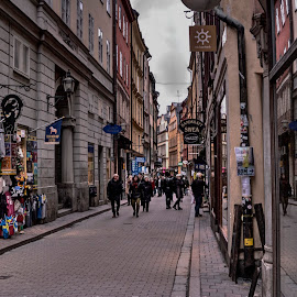 Stockholm by Stratos Lales - City,  Street & Park  Street Scenes ( stockholm, street, .sweden, people, gamla )
