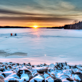 Ice Fishing by William Ducklow - Landscapes Weather