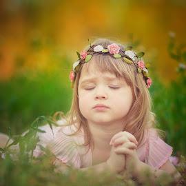 Peaceful by Sonya Wilson - Babies & Children Child Portraits ( child, sweet, outdoors, flowers, portrait )