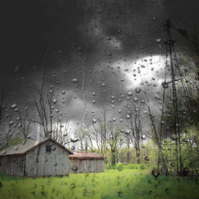 Rainstorm by Marsha Biller - Buildings & Architecture Other Exteriors ( farm, stormy, water drops, exterior buildings, dark sky,  )