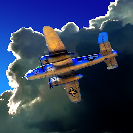 B-25 BOMBER FLYING UNDER STORM CLOUDS by Gerry Slabaugh - Transportation Airplanes ( wwii, airplane, b-25 bomber, b-25, army airforce )