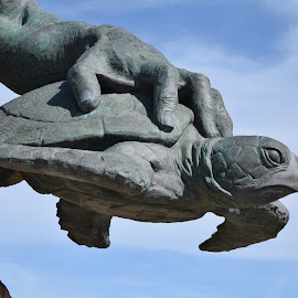 Turtle in Neptune's hand by Ada Irizarry-Montalvo - Buildings & Architecture Statues & Monuments