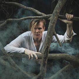 Inner Self by Tyler Oxley - People Portraits of Men ( creepy, model, fog, male, dark, trees, smoke,  )