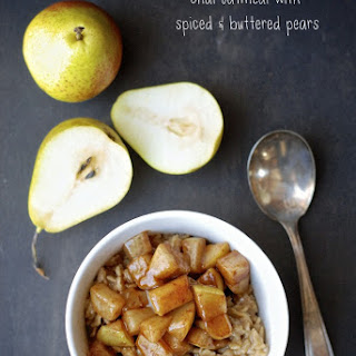 Chai Oatmeal with Spiced & Buttered Pears