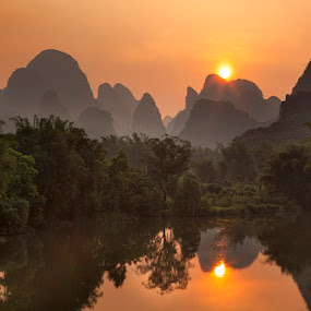 Yangshuo Sunset by Rich Voninski - Landscapes Sunsets & Sunrises ( yangshuo, sunset, li river, china )