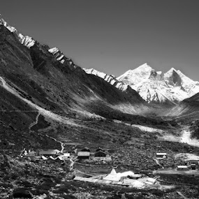 In the H I M A L A Y A S by Soumish De - Landscapes Mountains & Hills ( hill, mountains, nature, himalaya, black & white, backgrounds, india, valley, landscape, snow mountain )