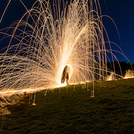 by Bayden Ellison - Abstract Light Painting ( water, orange, reflection, steel wool, stars, long exposure, bayden b ellison studio, burning, fire )