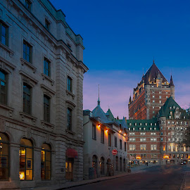 Chateau Frontenac in old Quebec city at dusk! by Réjean Côté - City,  Street & Park  Historic Districts ( 17mm, frontenac, old, glasses, canada, brunante, iso 100, eos 20d, street, dusk, city, fairmont, lights, quebec, cp hotel, chateau frontenac in old quebec city at dusk!, castle, chateau, 17-50 2.8 tamron )