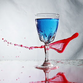 water and glass  by Peter Salmon - Artistic Objects Glass ( water, red, splash, blue, glass )