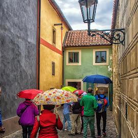 Rainy day colours, Prague. by Graeme Hunter - City,  Street & Park  Street Scenes