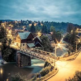 fairy tale by Vedran Bozicevic - City,  Street & Park  Vistas ( rastoke, blue hour, croatia, night, croatiafulloflife, bridge, lovecroatia, landscape, slunj,  )