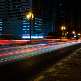 Traffic trails at qasba by Shashank Agrawal - Abstract Light Painting