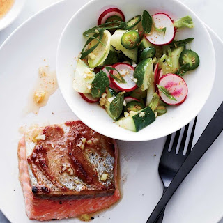 Roast Salmon with Miso Butter and Radish Salad
