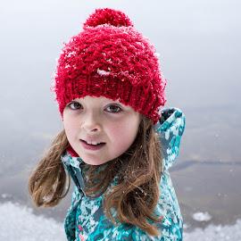 Huh? by Jennifer Bacon - Babies & Children Children Candids ( girl, witner, snow, candid, red hat )