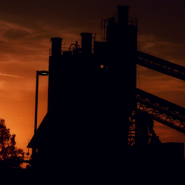 Silhouetted Industry by Aalok Pandit - Buildings & Architecture Other Exteriors ( silhouette, sunset, factory, industry, abandoned )