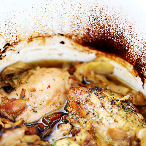 Crock Pot Chicken Thighs with Artichokes and Sun-Dried Tomatoes